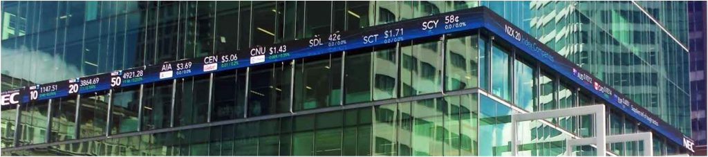 The digital screen was purpose built for the needs of the New Zealand Stock Exchange